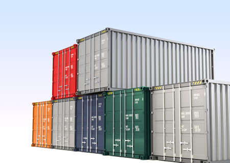 distribute: Colorful cargo containers