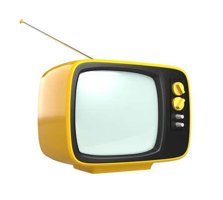 cathode ray tube: Yellow retro style TV isolated on white background
