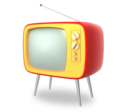 retro: Retro TV isolated on white background, clipping path available  Stock Photo
