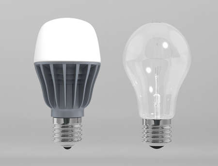 e27: LED light stand by incandescent lamp Stock Photo
