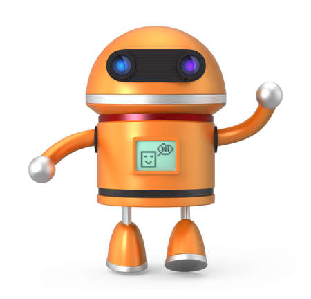 Cute robot say hello photo