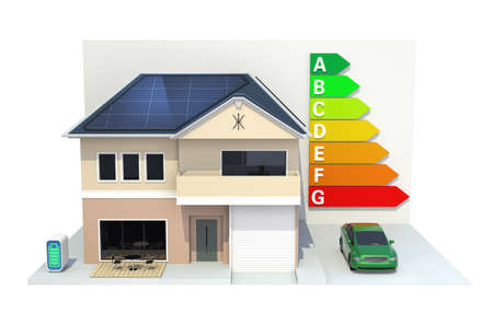 Smart house with solar panel system,energy efficient chart,clipping path  photo