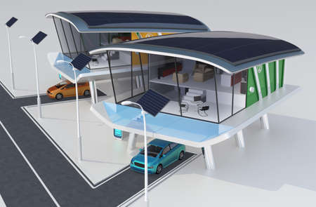 Stylish futuristic design house with solar panel, home battery system, electric car   Zdjęcie Seryjne