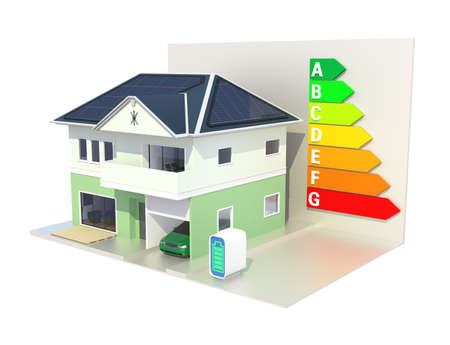 classify: Smart house with solar panel system,energy efficient chart Stock Photo