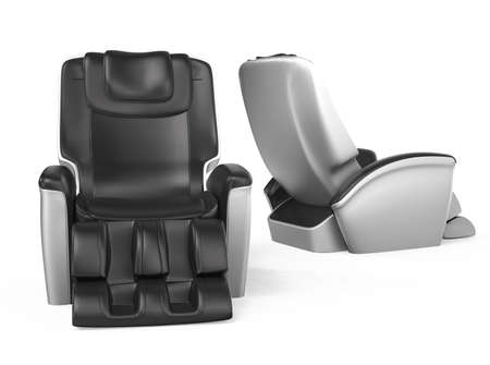 Two black comfortable leather reclining massage chairs   Clipping path included  original design