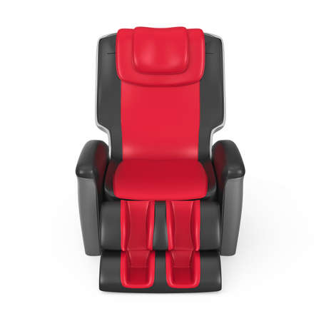 reclining chair black and red leather reclining massage chair with clipping path original design - Black Leather Recliner Chair