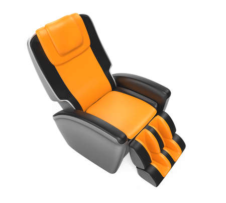reclining chair: Black and yellow leather reclining massage chair with clipping path, original design