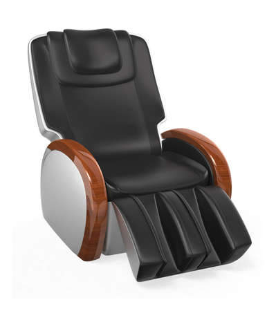 black leather massage chair. black comfortable leather reclining massage chair with wood armrest, clipping path included original design photo m