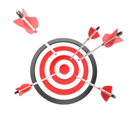 darts flying: Arrows point to bull s-eye of target,clipping path available  Stock Photo