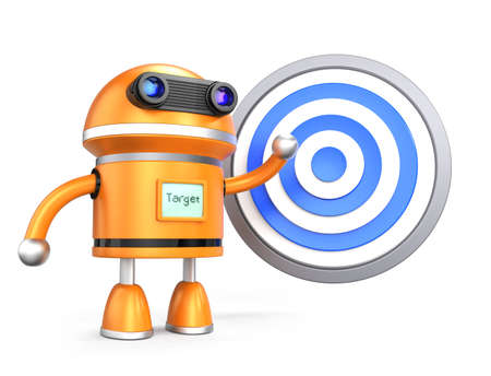 Robot guy demostrating marketing plan with target symbol