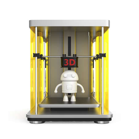 rapid prototyping: 3D printer concept  Original design for 3D print concept  Clipping  path included  Stock Photo