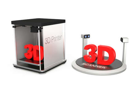 3D printer and scanner with clipping path photo