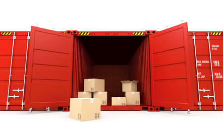 paper container: Opened red cargo container with cardboard boxes Stock Photo