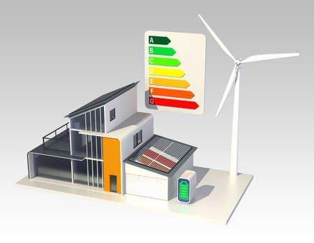 Casa inteligente con cuadro de clasificación energética Foto de archivo