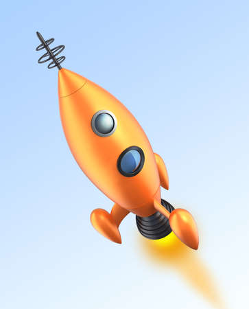 propellant: Retro toy rocket taking off to space