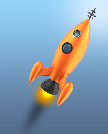 off path: Retro toy rocket taking off to space with clipping path Stock Photo