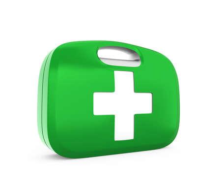 botiquin primeros auxilios: Caja de los primeros auxilios con trazado de recorte Foto de archivo