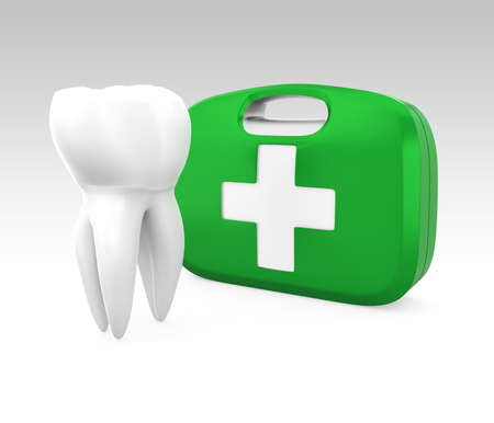3D teeth and first aid kit for oral care concept  Clipping path available  photo