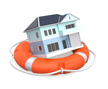 house render: House in lifebuoy for home insurance concept