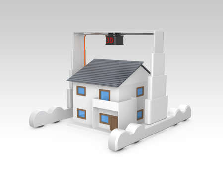 rapid prototyping: Huge industrial 3D printer  build a house