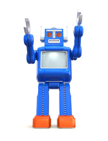 Blue vintage toy robot with clipping path Stock Photo - 25486262