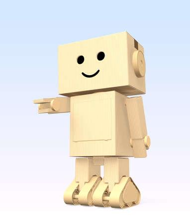 グラデーションの背景にかわいい段ボール ロボット
