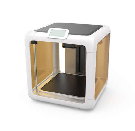 extrusion: Compact personal 3D printer on white background