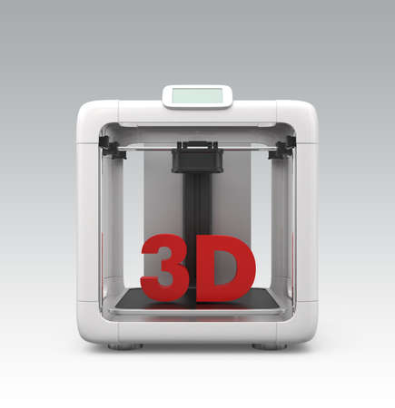 computing machine: Front view of compact personal 3D printer on gradient background