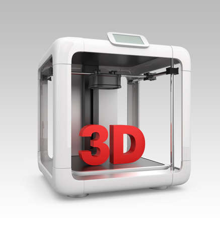 Front view of compact personal 3D printer on gradient background photo