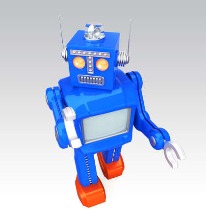Vintage toy robot on graident background photo