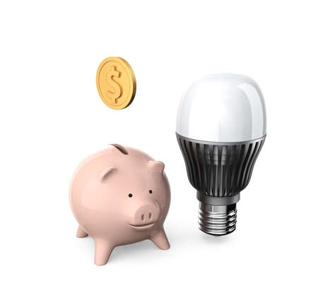 Piggy bank and LED light bulb for energy efficient appliance saving money concept photo