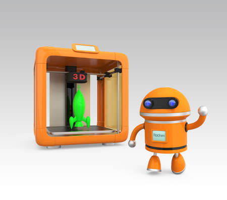 Compact personal 3D printer and 3D models photo