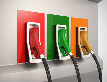 unleaded: Three gas nozzles in service station Stock Photo