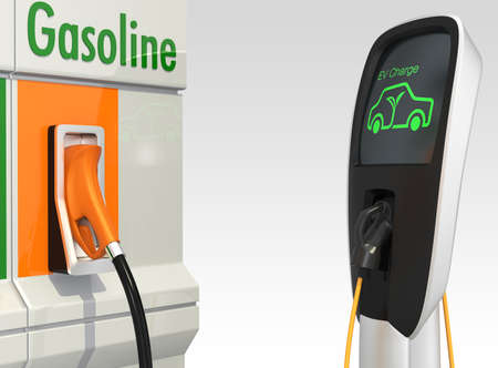 eco car: Gas station and electric vehicle quick charger station