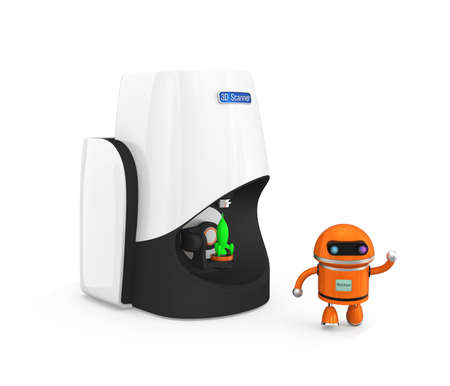 3d model: Compact personal 3D scanner with toy robot Stock Photo