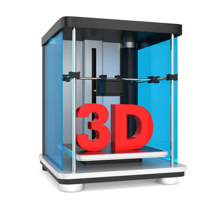 3D printer with red solid text isolated on white background