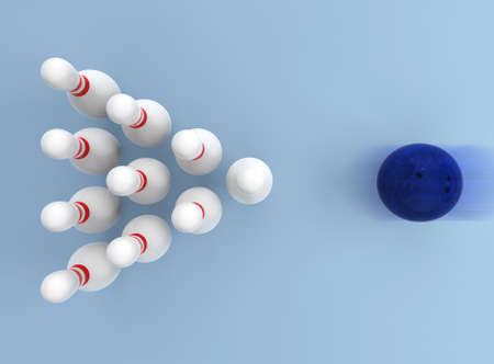 Bowling ball knocking pins on light blue background  스톡 콘텐츠