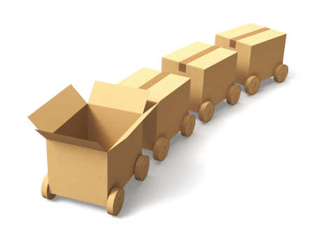 wheel house: Cardboard box cars arranged in line