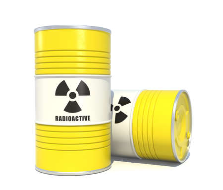 nuclear waste disposal: Radioactive waste storage barrels on white background Stock Photo