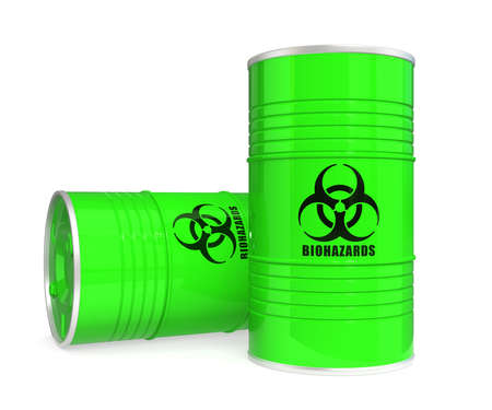 Two green biohazard barrels photo