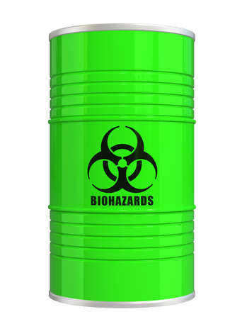 Green biohazard barrel  clipping path available photo