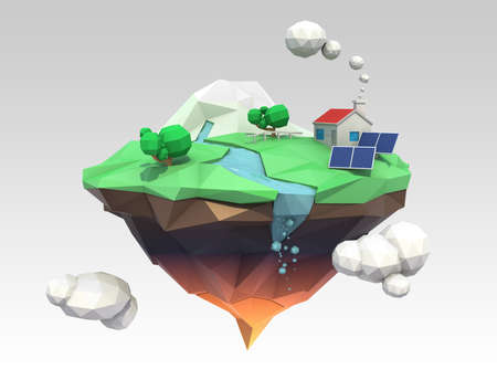 3D low poly floating island for ecology concept