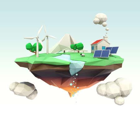 isla flotante: Isla flotante de baja poli 3D para el concepto de ecolog�a Foto de archivo