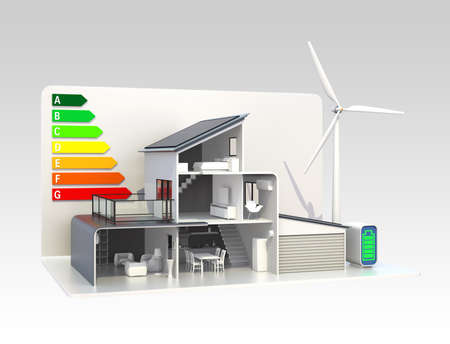 electricity generator: Eco house with energy classification chart
