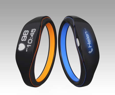 Smart wristbands show heart rate and phone call photo