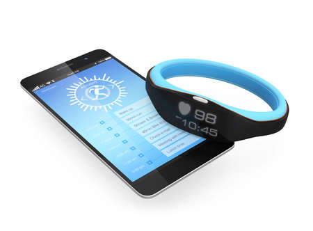 Smart wristband synchronized with a smartphone
