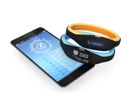 Smart wristbands and smartphone on white background photo
