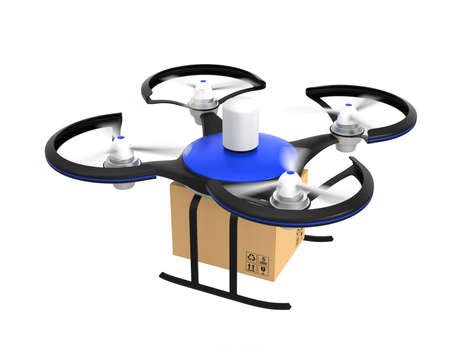 commercial recycling: Air drone with carton package isolated on white