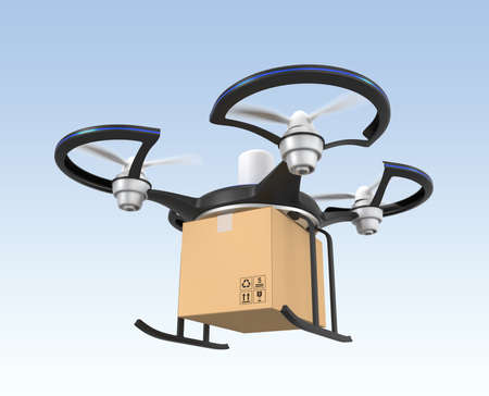 Air drone with carton package for fast delivery concept  photo