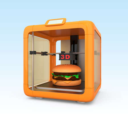 3D printer and hamburger  Concept for printing food solution Stock Photo
